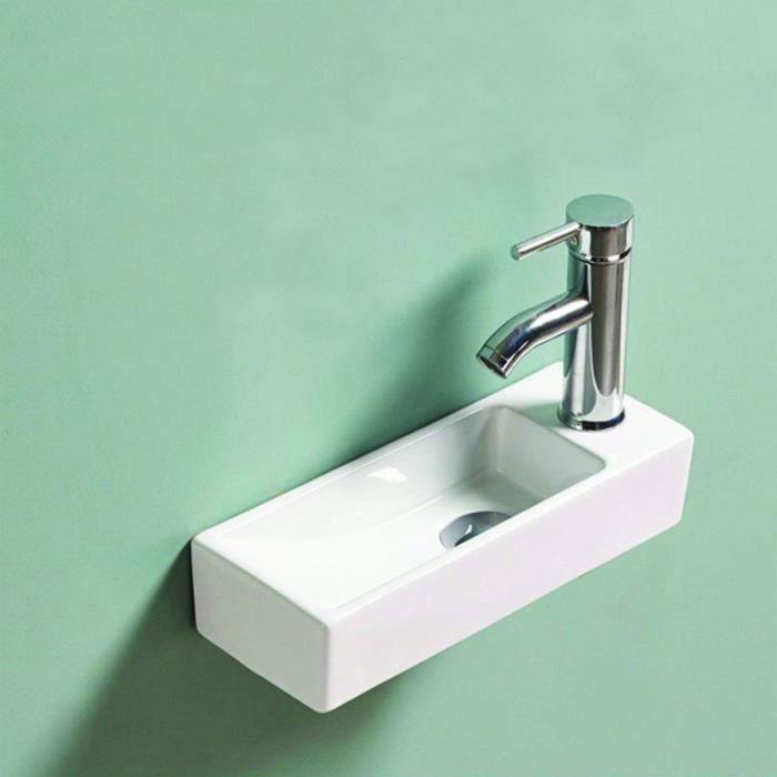 Lave main Rectangulaire Gain de place Droite - Céramique Blanc - 38x15 cm - Minimalist