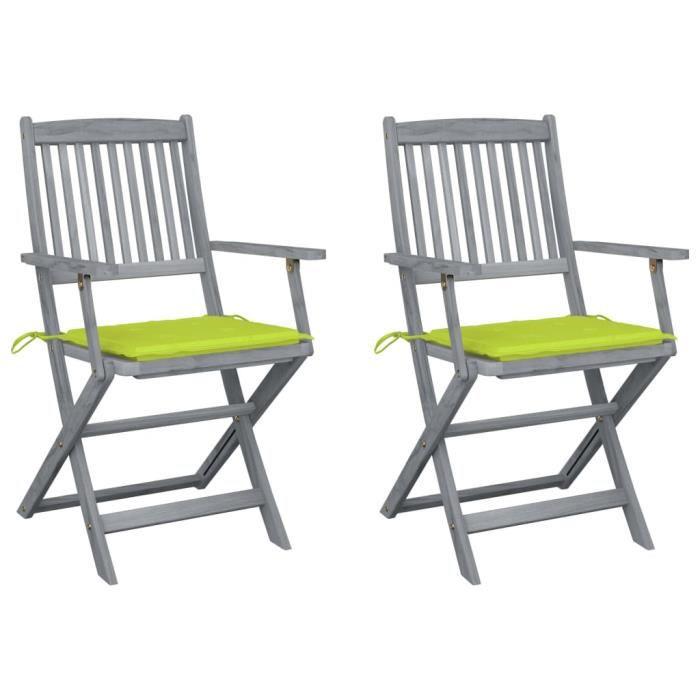 FOR Chaises pliables d'extérieur 2 pcs avec coussins Bois d'acacia 9375297777296
