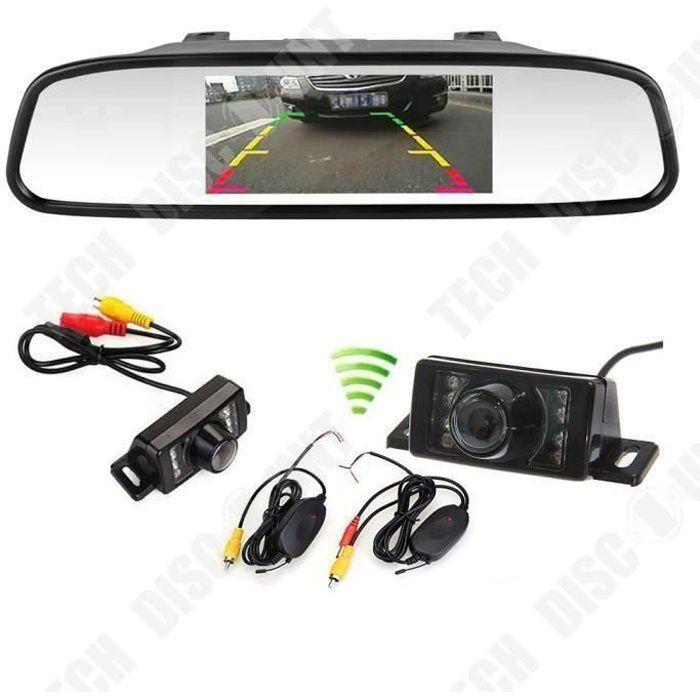 TD® Rétroviseur moniteur 4,3 pouces LCD miroir + caméra de recul sans fil LED infrarouge Vision nocturne-Accessoire de voiture