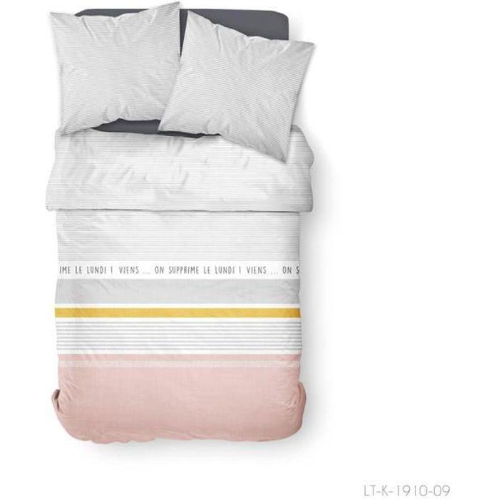 TODAY Parure de lit 2 personnes 240X260 Coton imprime blanc Graphique SUNSHINE TODAY