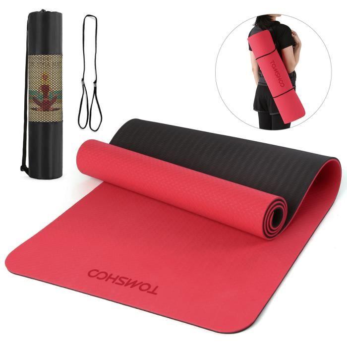 TOMSHOO 72.05 × 24.01in Portable Double Dual-colour Yoga Mat Thicken Sports Mat Tapis d'exercice antidérapant pour les entraîne-730