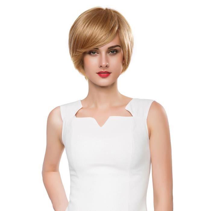 Charme Véritable Perruques De Cheveux Humains Nouvelle Mode Femmes Parti Cosplay Court Sexy Perruque Complète De Cheveux (Lin Or)