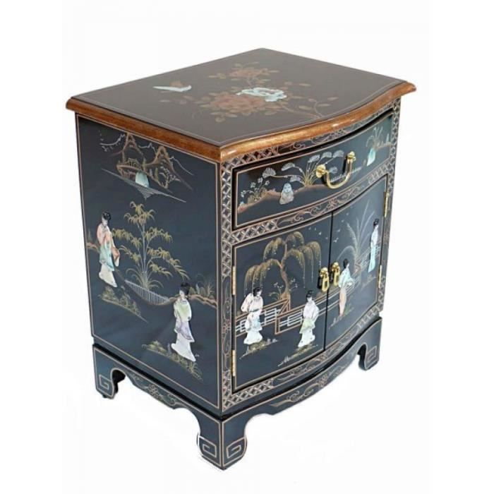 meubles laqu s noirs avec meuble de chevet nacre oriental m re de perle oriental achat vente. Black Bedroom Furniture Sets. Home Design Ideas