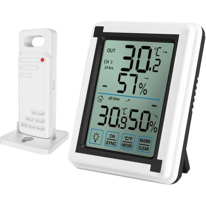 Digital Thermom/ètre Int/érieur Ext/érieur Bureau Jardin LCD hygrom/ètre Horloge num/érique pour B/éb/é Chambre /à Coucher Maison