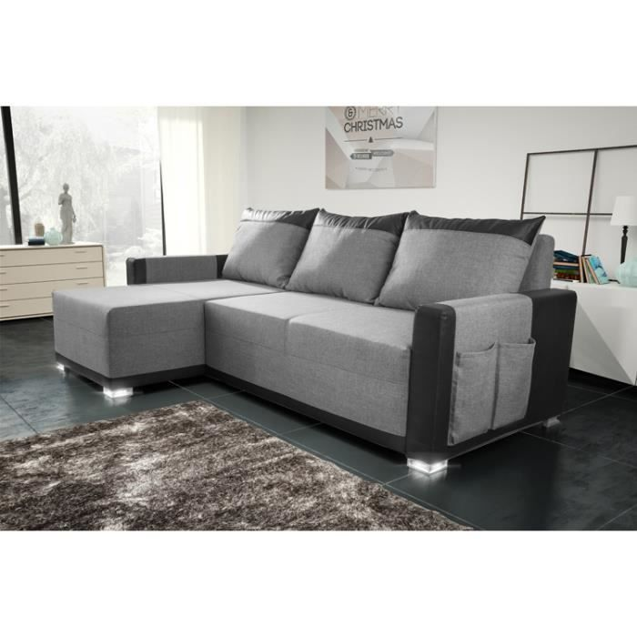 canap d 39 angle convertible bully gris noir achat. Black Bedroom Furniture Sets. Home Design Ideas