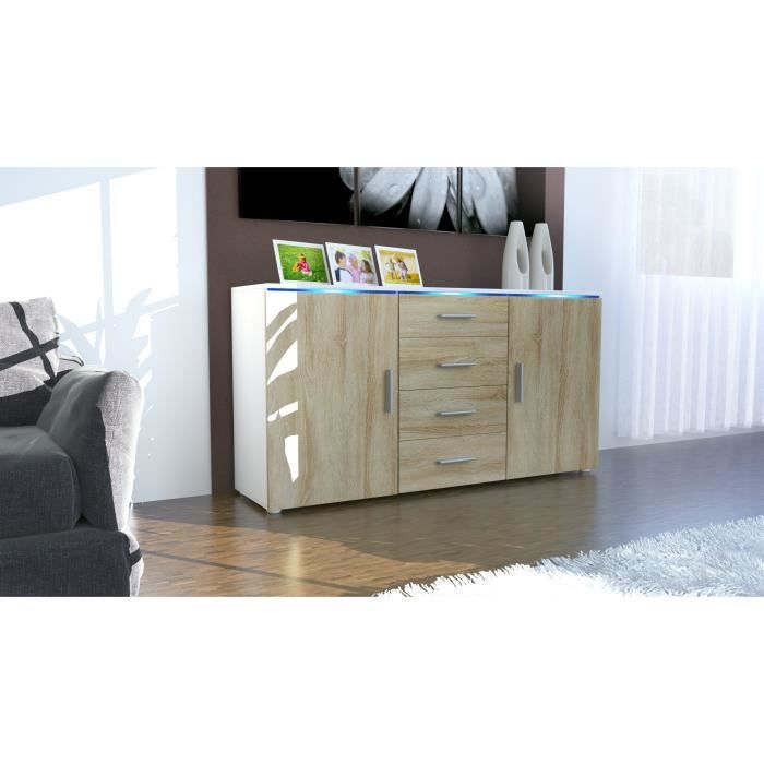 buffet enfilade blanc et bois brut 4 tiroirs centraux 139 cm achat vente buffet bahut. Black Bedroom Furniture Sets. Home Design Ideas