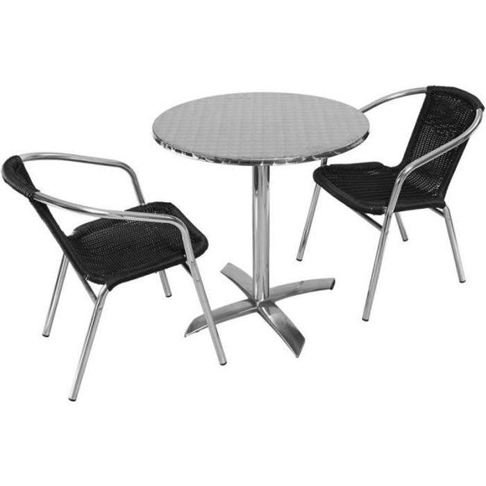 Table de jardin ronde rabattable en aluminium et 2 fauteuils - ensemble  pour terrasse 2 personnes