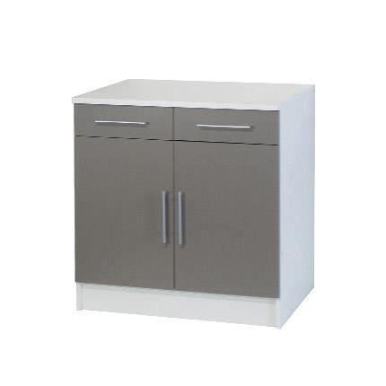 Trendy 4 meuble bas 2 portes 2 tiroirs l80cm taupe achat for Cuisine complete taupe