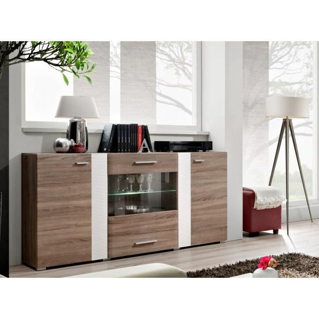 commode design 3 portes allepo avec eclairage led achat vente meuble tv commode design 3. Black Bedroom Furniture Sets. Home Design Ideas