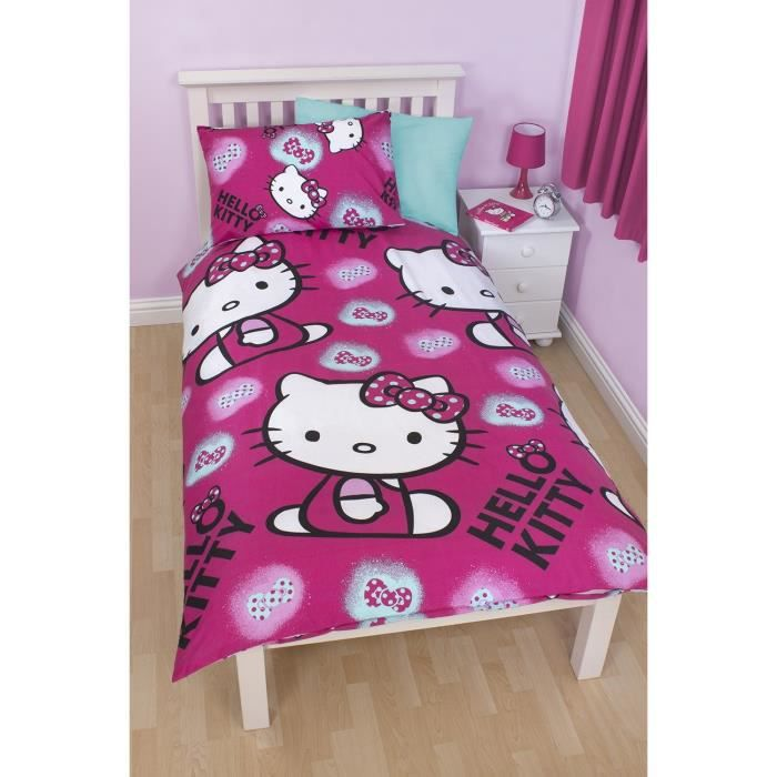 parure de lit housse de couette hello kitty achat. Black Bedroom Furniture Sets. Home Design Ideas