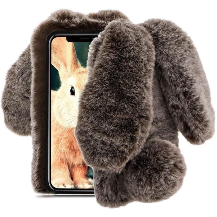 Coque iphone 7 avec poil de lapin
