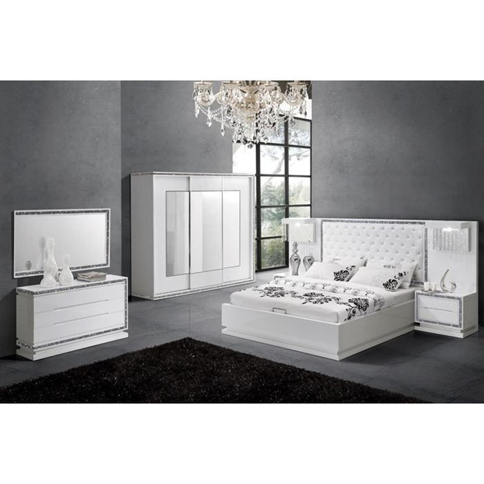 structure de lit design avec tete de lit achat vente structure de lit soldes d t cdiscount. Black Bedroom Furniture Sets. Home Design Ideas