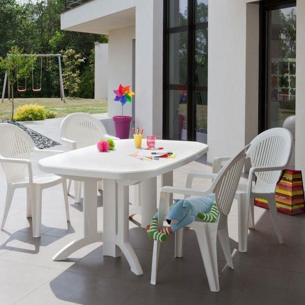 Table de jardin Vega 165x100 GROSFILLEX - Blanc