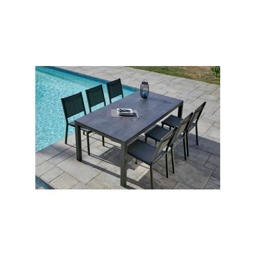 Salon De Jardin Avec Plateau Hpl Ardoise 200 X 90 X 74 Cm Achat Vente Ensemble Table Et Chaise De Jardin Salon De Jardin Avec Plateau Cdiscount