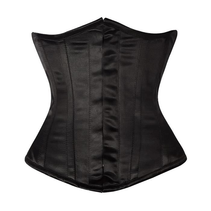 SUPPORT TAILLE - COUPE  Serre taille corset satin noir élégant gothique ch