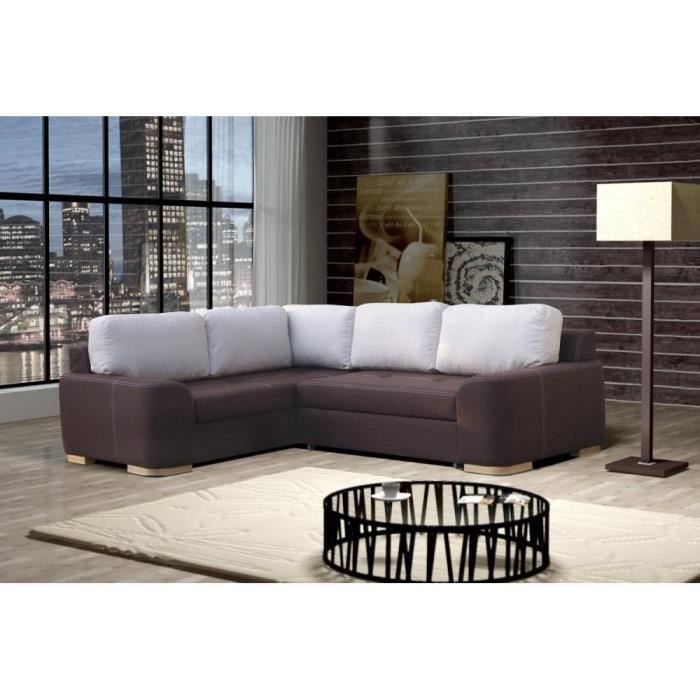justhome fiore canap d 39 angle en cuir brun lxp 252x200 cm achat vente canap sofa. Black Bedroom Furniture Sets. Home Design Ideas