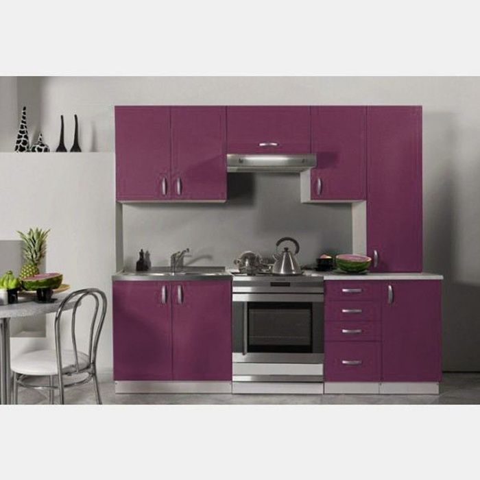 cuisine quip e de 2m20 oxane aubergine achat vente cuisine compl te cuisine quip e de 2m20. Black Bedroom Furniture Sets. Home Design Ideas
