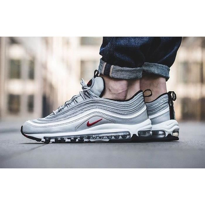 Nike Air Max 97 OG Metallic Silver Bullet Red Argent Achat