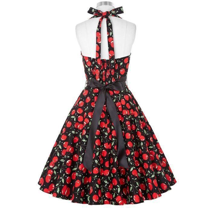 Femmes manches fleurs d\u0027impression robe vintage avec ceinturerouge