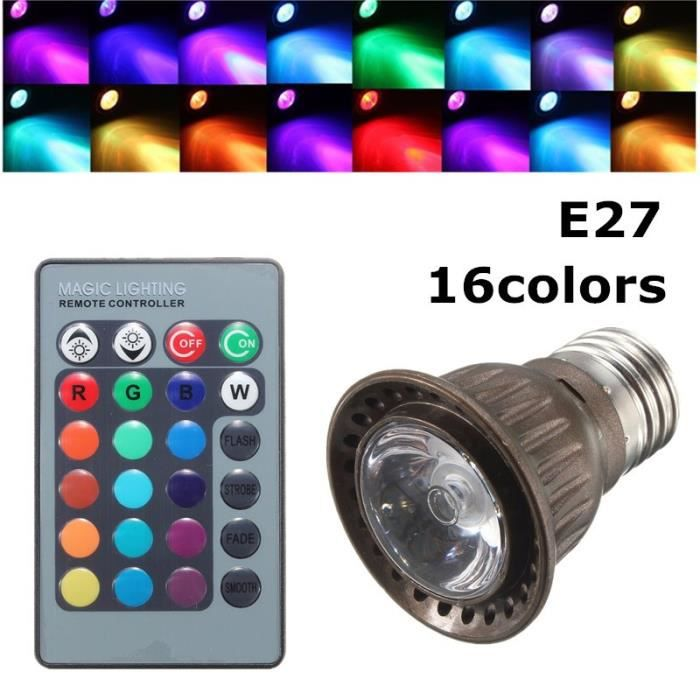 e27 led rgb 3w ampoule lampe spot bulb 24 key t l commande sans fil mariage d co achat vente. Black Bedroom Furniture Sets. Home Design Ideas