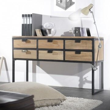 console en teck 2 tiroirs metal et bois meuble achat. Black Bedroom Furniture Sets. Home Design Ideas