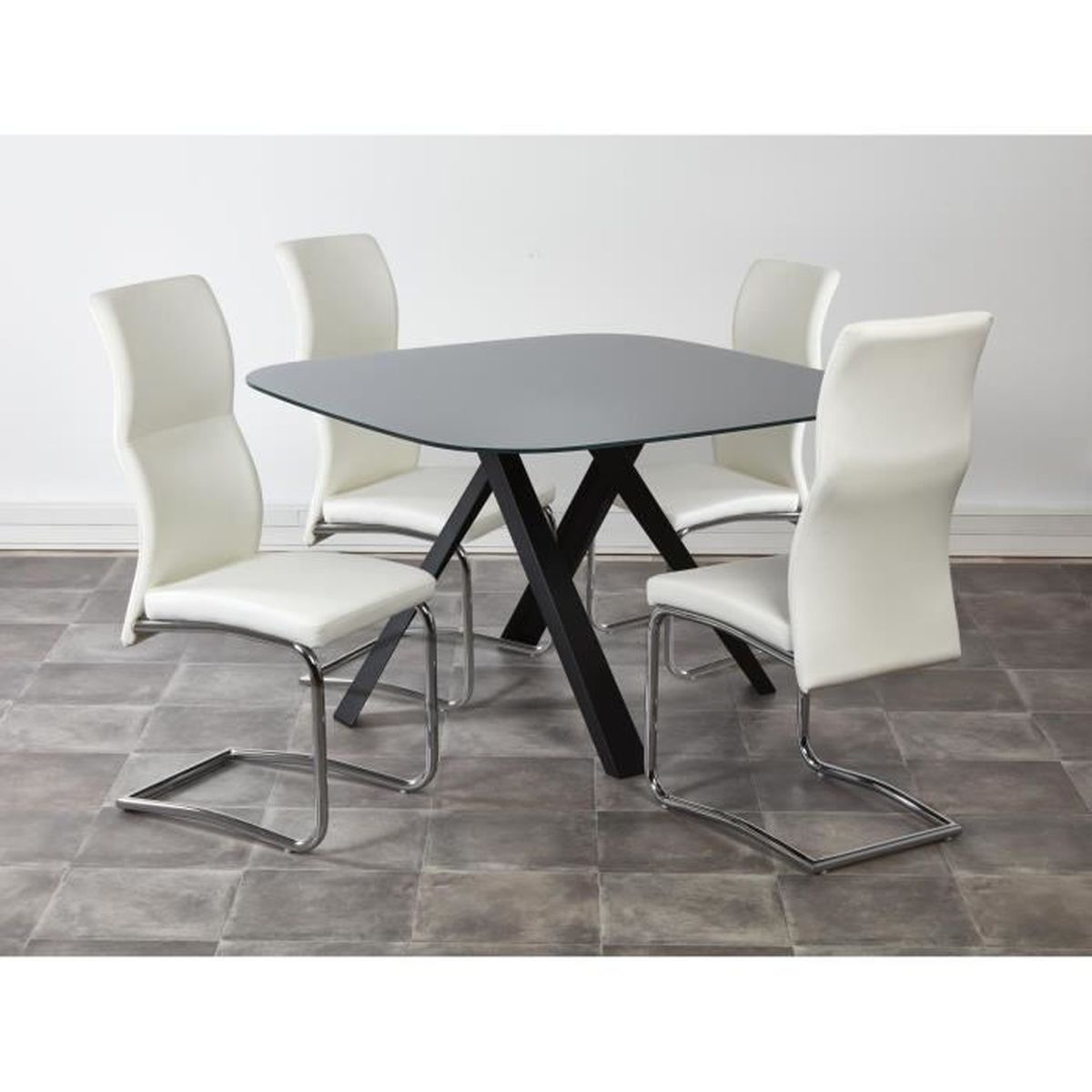Ensemble table manger 4 chaises castiel blanc achat for Ensemble table a manger