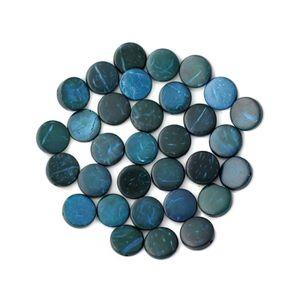 Perles Donuts Bois de Coco Rondelles 12mm Bleu Vert   4558550001306 20pc