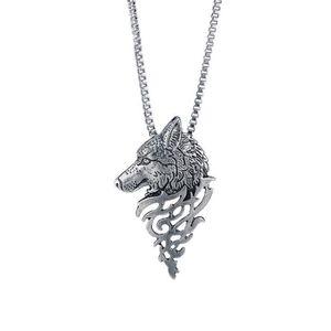 Perles Tête de Loup Pendentif Noir Collier Homme Bijoux Mode Cool Cadeau Chic