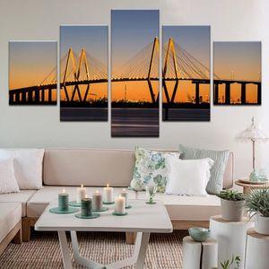 TABLEAU - TOILE 5 pcs Imprimer Sunrise Bridge Paysage Peinture Art