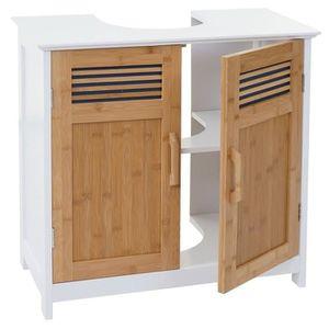 Armoire lavabo meuble sous évier salle de bain MDF et bambou ...