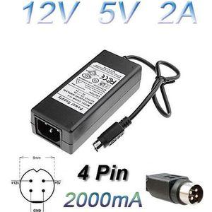 CÂBLE D'ALIMENTATION Alimentation Chargeur 12V 5V 2A 4 Pin Boitier Exte