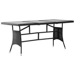 SALON DE JARDIN  Table de jardin Noir 170x80x74 cm Résine tressée