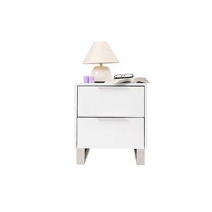 CHEVET Table de nuit design laquée blanche HALIFAX