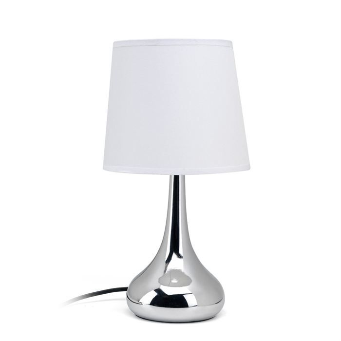 romy lampe poser chevet tactile chrome hauteur 30 cm. Black Bedroom Furniture Sets. Home Design Ideas