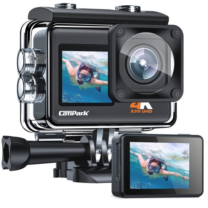 Caméra Sport CAMPARK , X50 4K 20MP PC Webcam WiFi Appareil Photo Microphone Externe Caméscope Étanche 40M