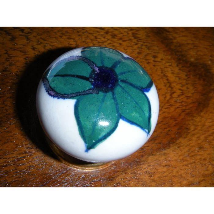 petit boutons en porcelaine fleur vert foncé