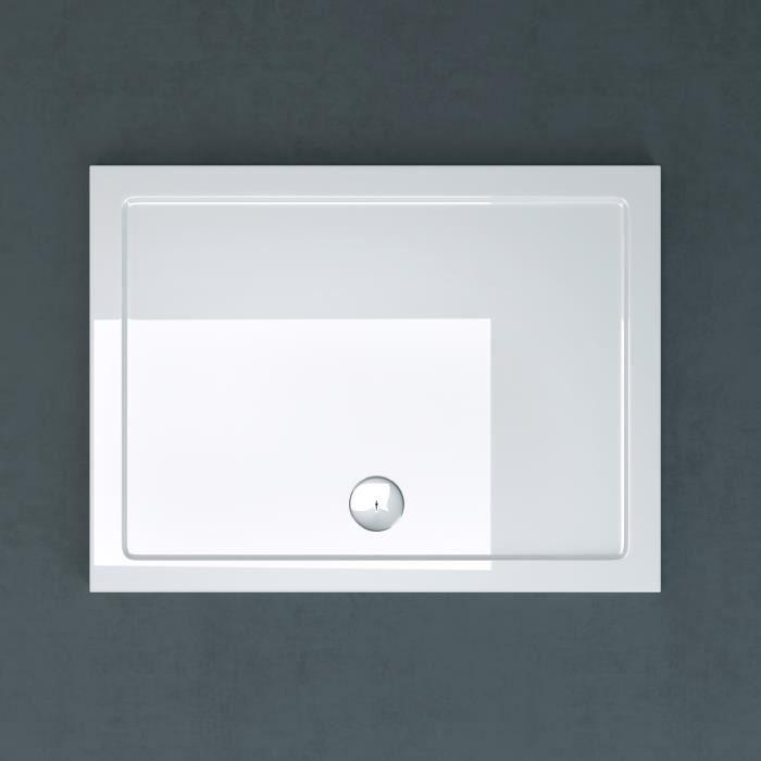 Receveur de douche bac à douche Sogood Faro02 acrylique plat blanc rectangulaire 70x100x4cm pour la salle de bain