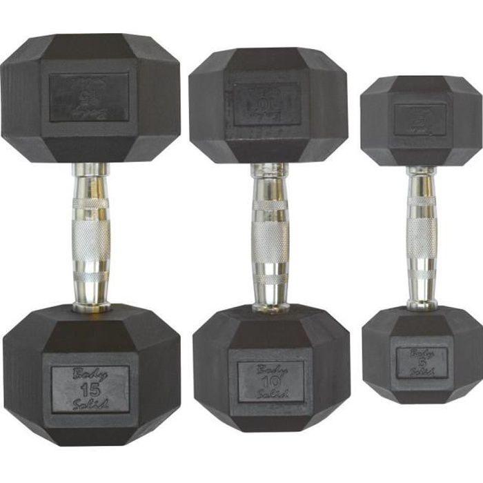 Paires d'haltère Body-Solid Hexagonale en caoutchouc 3 kg - gris/noir - TU