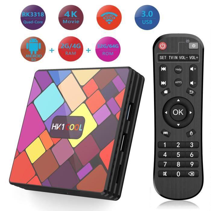 2019 TV Box de Version Android 9.0,【4G 64G】RK3318 Quad-Core 64bit Cortex-A53, USB 3.0 Box Android TV LAN100M Wi-FI 2.4G/5G TV Box 4K