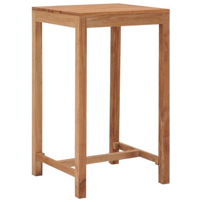 Table de bar - Table haute Mange Debout de jardin 60x60x105 cm Bois de teck solide
