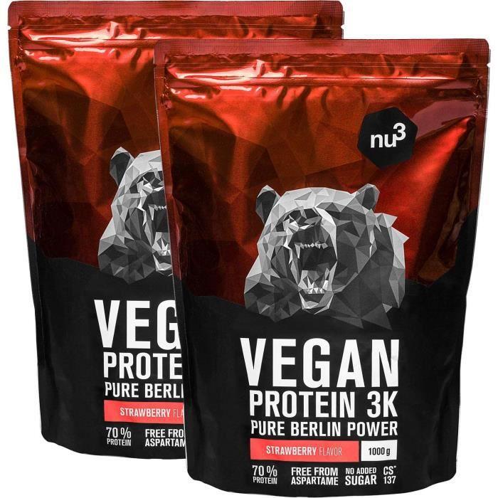 Protéines vegan 3K - 2kg - Fraise - 71% de Protéines à base de 3 Composants végétaux - Protéine végétale destinée à la prise de mass