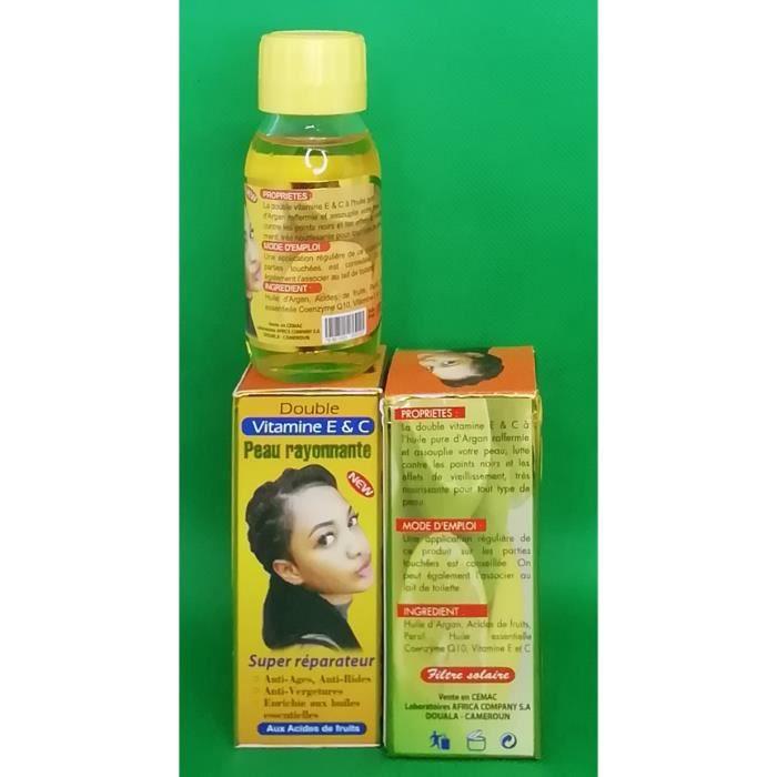 Double vitamine E & C Peau rayonnante anti-tâches, anti-rides, anti-vergetures, super éclaircissante