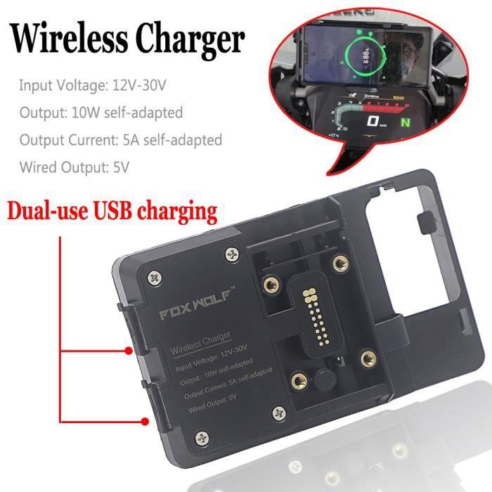 Protege Cadre,Chargeur sans fil pour moto BMW R1250GS Adventure R 1250 GS ADV, support de téléphone portable -Type Wireless and USB