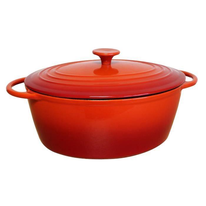 BAUMALU Cocotte fonte ovale - 29 cm - Rouge dégradé Tradition