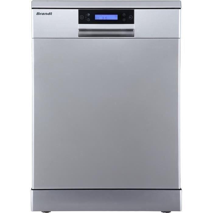 Lave-vaisselle pose libre BRANDT DFH144LX - 14 couverts -Largeur 60 cm - Classe A+++ - 44 dB - Inox