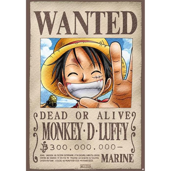 Poster d'une Piece Wanted Monkey D. Luffy Dead or Alive.