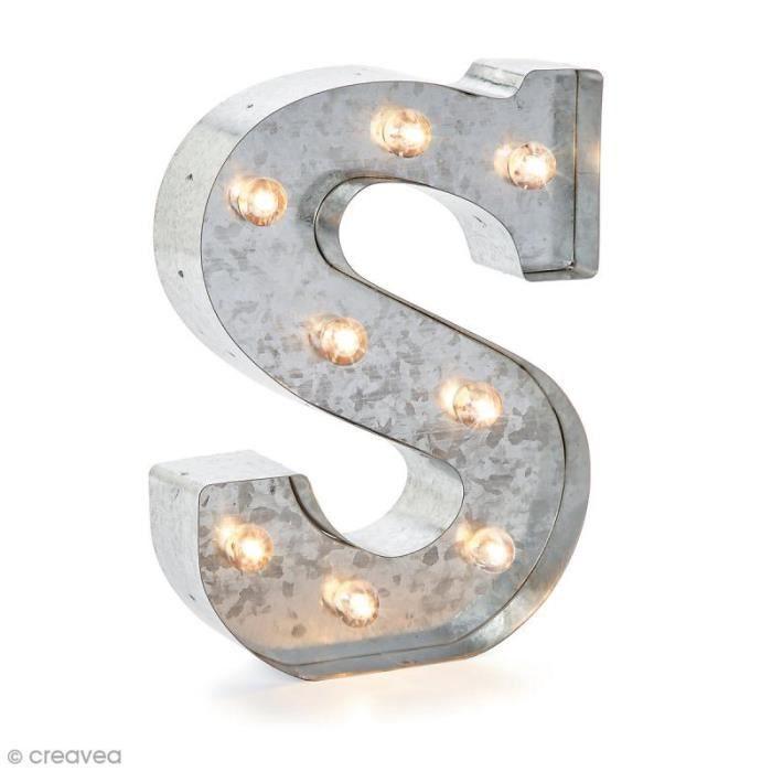 Lettre lumineuse en métal vintage S - 25 x 18,5 x 4,5 cm