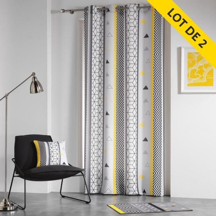 Lot de 2 rideaux a oeillets 140 x 260 cm coton imprime remix Gris/Jaune