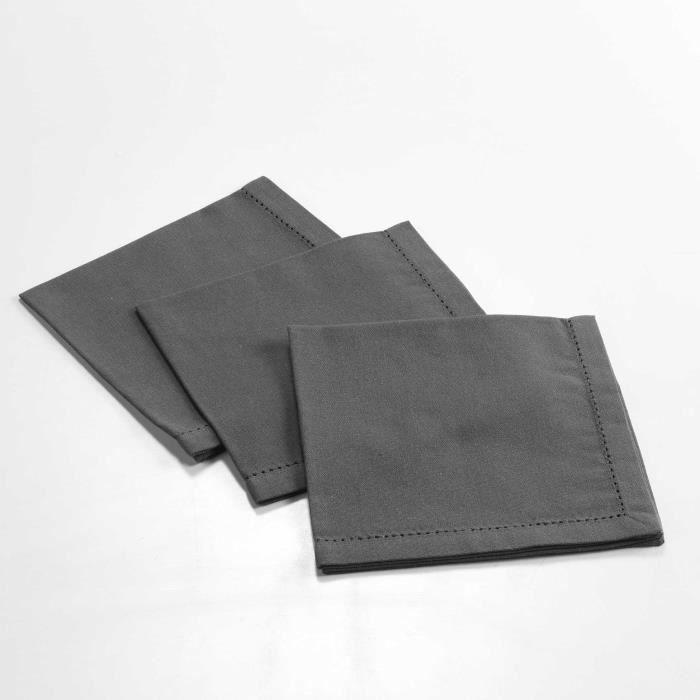 CDaffaires 3 serviettes de table 40 x 40 cm coton uni charline Anthracite