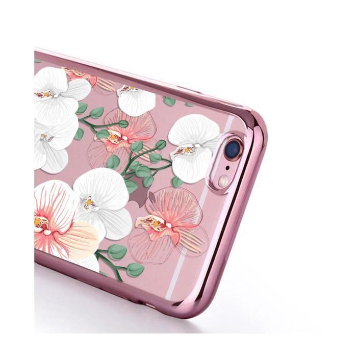 Coque pour iPhone 6 Plus / 6S Plus bumper rose gold Orchidées Ecriture Tendance et Design Evetane